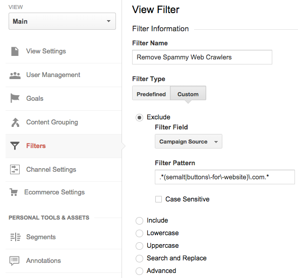 filtru google analytics