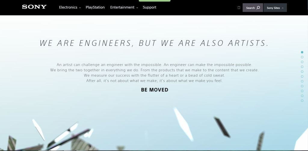 site sony parallax scrolling